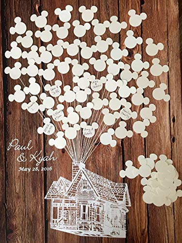 Disney wedding guestbook alternative Mickey Mouse wedding guest book Disney birthday party Mickey baby shower housewarming guest sign poster 3D Up house with Mickey balloons ()