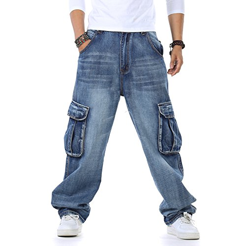 Plus Size Mens Jeans Cargo Pants Denim Work Hip Hop Casual Baggy Style Relaxed-Fit 30-46W 32L (Big Baggy Denim)