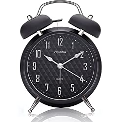 Fzy.bstim 4 Twin Bell Alarm Clock Battery Operated,with Backlight,Non-Ticking Silent Alarm Clocks for Bedrooms,Loud Alarm Clock for Heavy Sleepers(Black)
