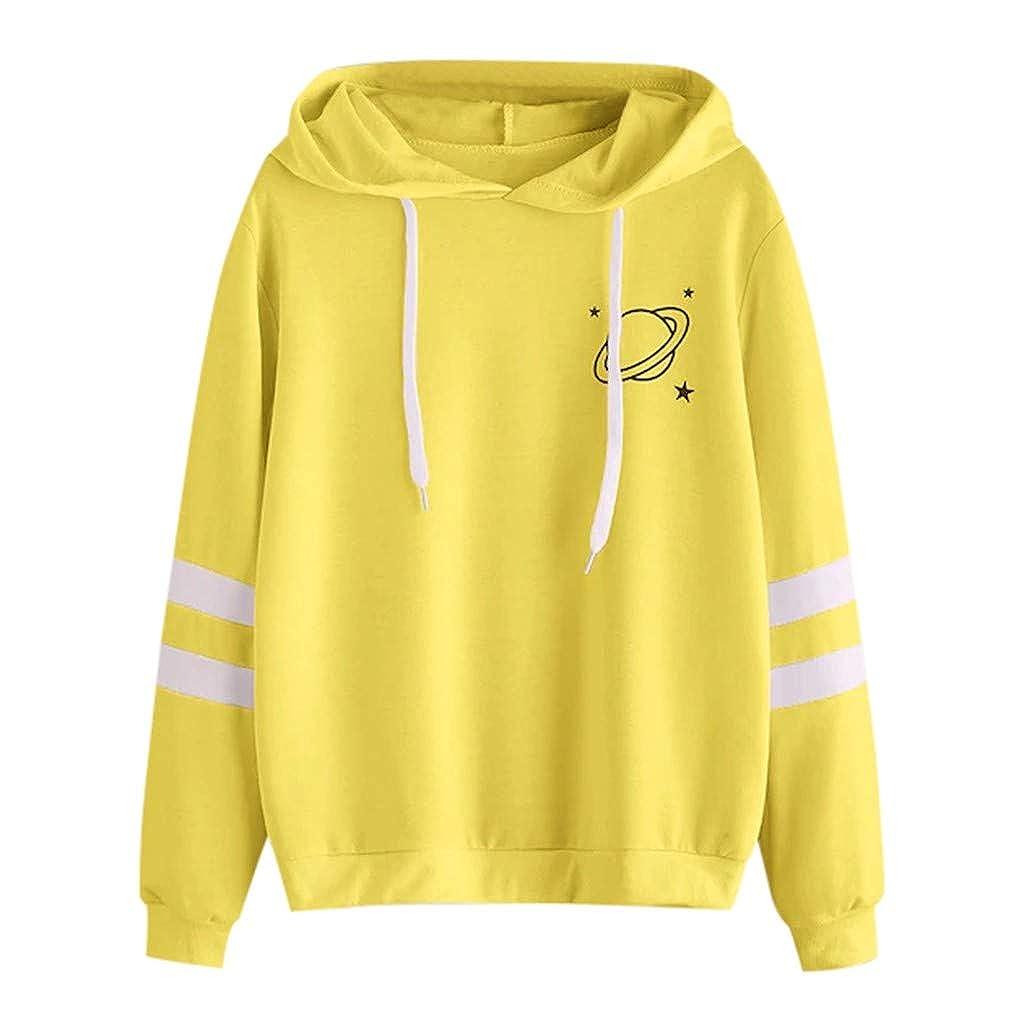Oasisocean Womens Sweatshirts Teen Girls Casual Long Sleeve Planet Print Hoodie Pullover Tops Hooded Blouse