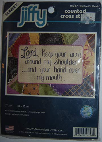 Jiffy Stitch Kit Counted Cross (Sunset Jiffy Counted Cross Stitch Kit, Patchwork Prayer: Lord, Keep Your Arm Around My Shoulder and Your Hand Over My Mouth)