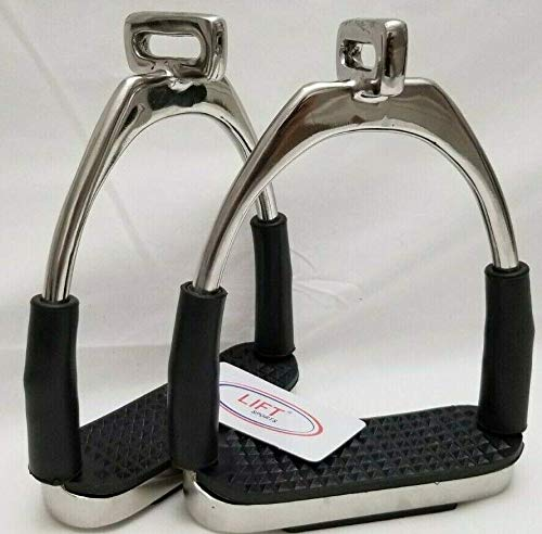 "Lift Sports Offset Horse Flexible Safety Polish Stirrups (4.75"") Riding Bendy Iron Steel"
