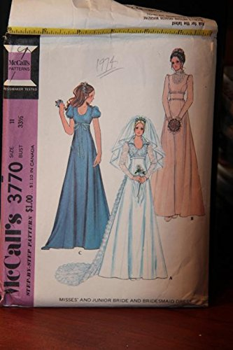 Vintage McCall's Pattern 3770 Size 11 Bust 33 1/2 - Misses' And Junior Bride And Bridesmaid (Mccalls Bridesmaid Patterns)