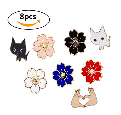 Lapel Pins Enamel Flower Set Creative Brooches Lapel Pins Badge for Clothing Bags Decor 8 Pcs ()