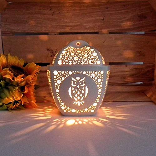 Ceramic Owl Candle Holder, Handmade Tea Light Lantern