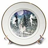 3dRose cp_18579_1 Fairies and Unicorn in The Snow Porcelain Plate, 8-Inch