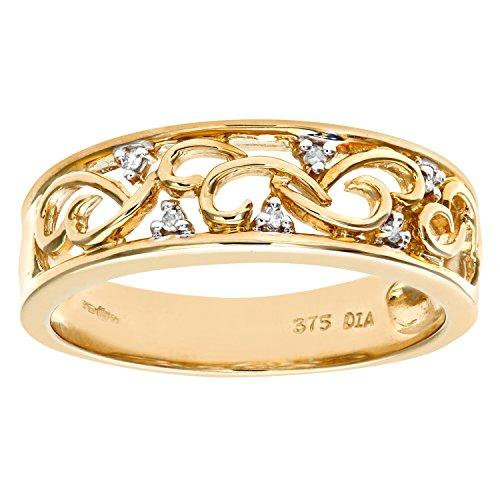Bague Femme - Or jaune (9 carats) 3.7 Gr - Diamant 0.03 Cts