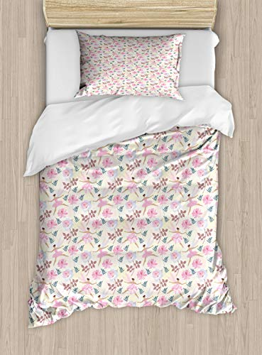 (Ambesonne Ballerina Duvet Cover Set Twin Size, Pastel Love Dancer Fairy with Wings Flying with Roses and Floral Motifs Print, Decorative 2 Piece Bedding Set with 1 Pillow Sham, Multicolor)