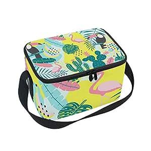 Alinlo - Bolsa de almuerzo para cactus de flamencos tropicales, con cremallera, aislante térmico, bolsa para el almuerzo, bolso de mano para picnic, escuela, mujeres, hombres y niños