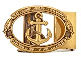 anchor buckle belt - Gurscour Mens Western Anchor Ratchet Automatical Belt Buckle 40mm Retro Bronze