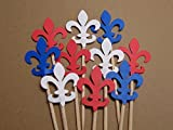 Fleur De Lis Cupcake Toppers in Red White and Blue - Food Picks (Set of 24 toppers)