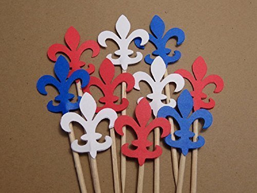 - Fleur De Lis Cupcake Toppers in Red White and Blue - Food Picks (Set of 24 toppers)