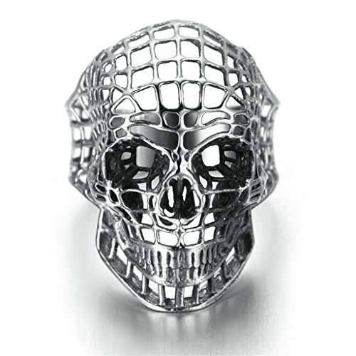 [Stainless Steel Ring for Men, Skull Ring Gothic Silver Band 2035MM Size 12 Epinki] (Teen Light Up Green Lantern Costumes)