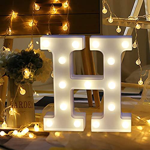 Quaanti 2018 Ninght Light New LED Remote Control Alphabet Letter Lights LED Light Up White Plastic Letters Stand A-Z (H)