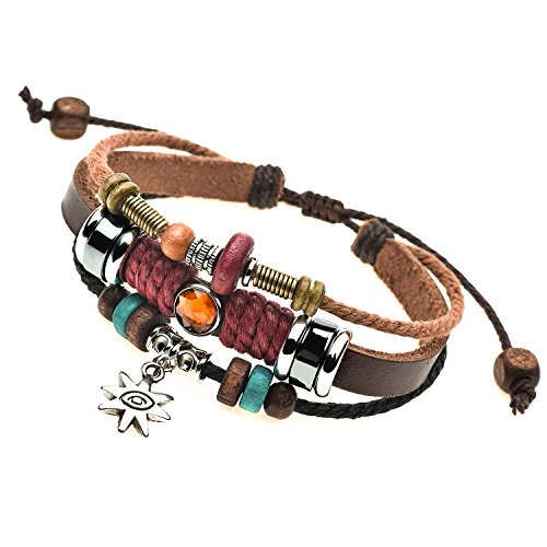 Charm Silvery Flower Pendant Brown Braided Rope Leather Bracelet (Girl Bracelet Bracelet Leather)