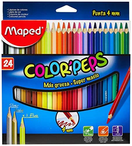 Lápis de Cor, Maped, Color Peps, 4mm, 24 Cores