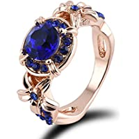 Nongkhai shop Women Blue Sapphire Rose Gold Filled Engagement Ring Size 5-11 Rings Jewelry New Color Blue (11)