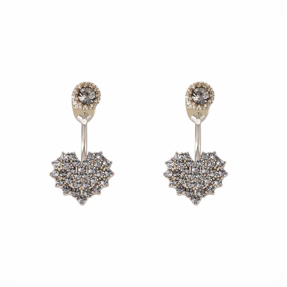 Ling Studs Earrings Hypoallergenic Cartilage Ear Piercing Love Back Hanging Earrings, Short, Zircon Earrings