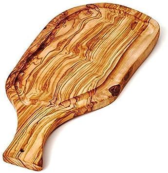 das Olivenholzbrett Planche /à D/écouper Streakbrett avec Le et Poign/ée Coupe Naturelle en Bois DOlivier 35cm