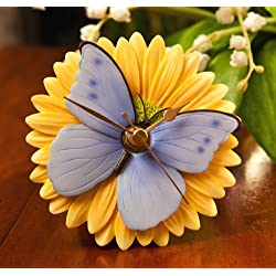 Blue Butterfly on Gerber Daisy Clock - Hand Painted Flower Clock By Ibis & Orchid Designs