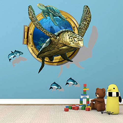 U-Shark 3D Self-adesive Removable Break Through the Wall Vinyl Wall Stickers /Murals Art Decals Decorator Kid's Favor (Large Sea Turtle (23.6