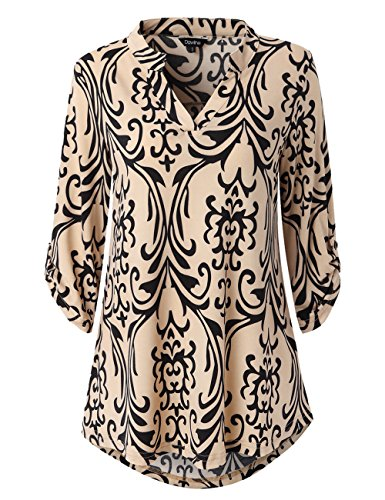 Roll Sleeve Shirt - Dawiine Womens Casual Tunic Tops 3/4 Roll Sleeve Curved Hem Floral Print Tunic Blouse Shirts (Medium, Black Taupe)
