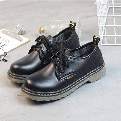 EOZY Chaussures Plate Cuir Femme Noir Basses Ronde Classic Vintage Printemps