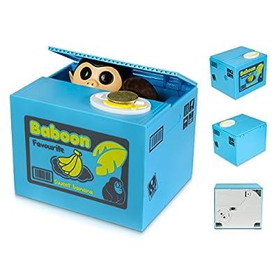 """'Hucha fruta (con mono - Azul """"diebischer Mono Diseño - Gadget eléctrico Hucha como regalo Idea - Tarjeta de Cheshire: Hogar"""