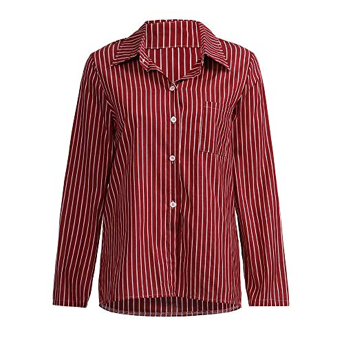 Women Long Sleeve Shirt, Laimeng_ World Women Casual Striped
