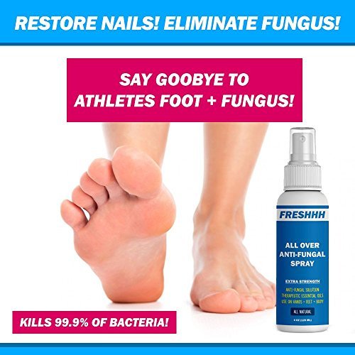 BEST ALL OVER ANTI-FUNGAL SPRAY - Kills 99.9% of Fungus - Safe for use on Body, Private Areas, Hands, Feet, Nails, Jock Itch, Ringworm & More! Men & Women - Anti-Fungal + Anti-Odor + Anti-Bacterial by FRESHHH! (Image #3)'