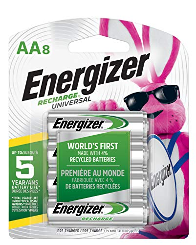 Energizer Rechargeable AA Batteries, NiMH, 2000 mAh, Pre-Charged, 8 count (Recharge Universal) - Packaging May Vary