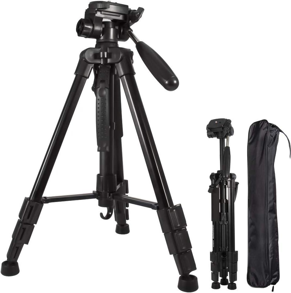 Trípode de cámara de Aluminio de Peso Ligero Ajustable de 59 Pulgadas para la Canon Nikon Sony,DSLR Gopro,trípode portátil Compacto para Viajar,Patas Flexibles Flexibles Placa de liberación rápida