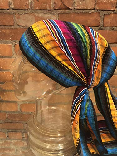 SHORT HEADWRAP Scarf Hair Tie Turban Fabric Hand Woven Breathable Gauze Bright Stripes Jewel Colors ()