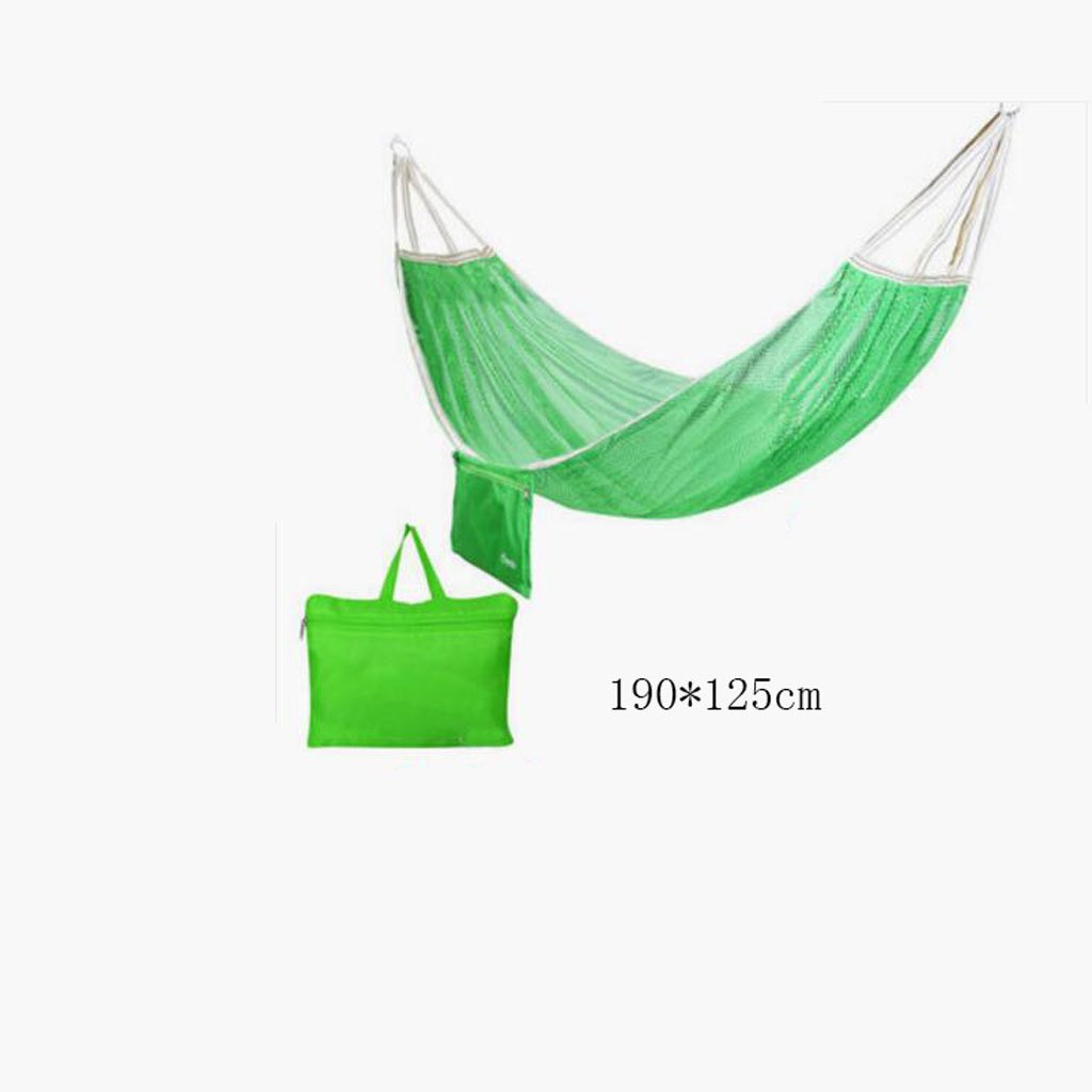 Hängematte Outdoor Hängematte Camping Camping Schaukel Hängematte Bergsteigen Hängematte grüne Mesh Polyester Hängematte tragbare Hängematte (Lagerbeutel  1), (190  125cm)