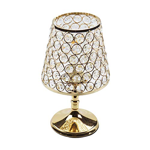 Floodoor Crystal Table Lamp Decorative Bedside Desk lamp with Golden Crystal Shade for Bedroom, Living Room, Dining Room, Coffee Table, Bookcase (Lamp Crystal Gold)