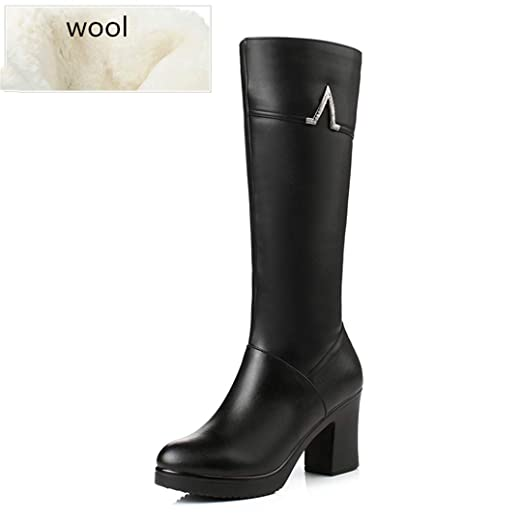 54b26c73022 Amazon.com: Winter Genuine Leather Boots -Heeled Mid-Calf Women Long ...
