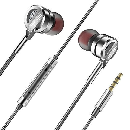 Earbuds,LEYOUDY In-Ear Metal Earphones Stereo Bass Headphones with Microphone Volume Control 3.5mm Audio Jack Headphones (Silver)
