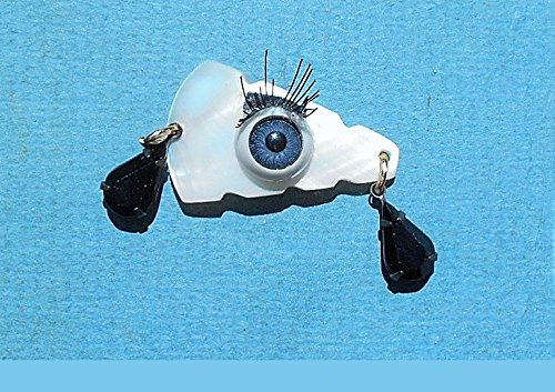 Mother of Pearl Evil Eye, Eye Lashes & Black Rhinestone Tear Drops Brooch/ Pendant for Your Protection. Gold Plated Necklace Available (Rhinestone Eyes Brooch)