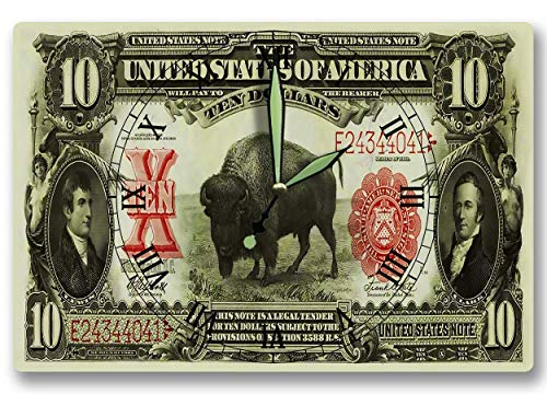 Lewis and Clark Money Clock United States Treasury Series 1901 American Bison 10 Dollar Banknote 8 x 12 inch Wall Clock Discovery Expedition -