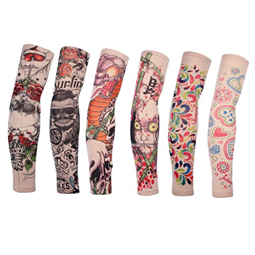 edealing Cycling Armwarmer Stretchable Fake Arts Tattoo Sun UV Protection Sleeves for Outdoor Sports Running Golf Baseball, Set of 6 (Style B) ()