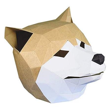 BIEE Máscara de Papel 3D moldes de Cabeza de Animal para Halloween Fiestas Disfraces Cosplay Papel Facial Kit de Manualidades: Amazon.es: Juguetes y juegos