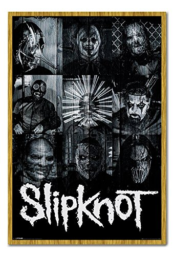 Slipknot Masks Official Poster Cork Pin Memo Board Oak Framed - 96.5 x 66 cms (Approx 38 x 26 inches)]()