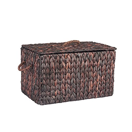 Household Essentials ML-6610B Large Wicker Storage Box with Lid - 12.2