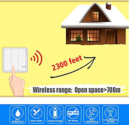 Wireless Light Switch 3 Way with 3 receiver, Waterproof IP54 Remote Control  Basic Wireless Light Switch,Outdoor 2300 ft, Remote Control Ceiling Lamp