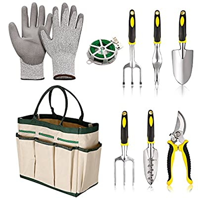 Schafter Gardening Tools Set 9 Pieces Garden Tool Sets with 6 Hand Tool Garden Gloves and Storage Tote