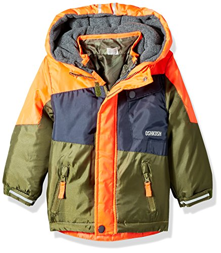 Osh Kosh Little Boys' Toddler 4 in 1 Systems Heavyweight Jacket, Orange, (4in 1 Winter Jacket)