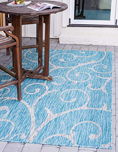 Unique Loom Outdoor Botanical Collection Vine Floral Transitional Indoor and Outdoor Flatweave Light Aqua  Area Rug (6' 0 x 9' 0)