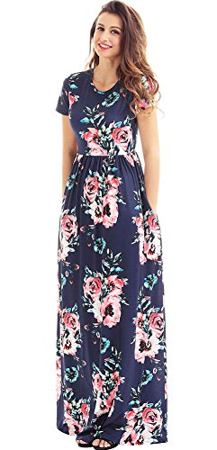 Blue Pattern Dress - roswear Women's Summer Casual Round Neck Ruched Short Sleeve Floral Maxi Dress with Pockets Dark Blue X-Large