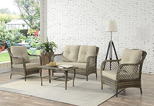 Living Express Outdoor Patio Furniture 4PCS PE Rattan Wicker Chair Set,All-Weather Sofa Conversation Set with Washable Cushion,Beige,Enjoying for Outdoor or Indoor in Garden,Backyard,Balcony (In Furniture Used Tampa)