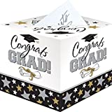 "Black and White Grad Graduation Party Greeting Card Holder Box, Cardboard, 12""."